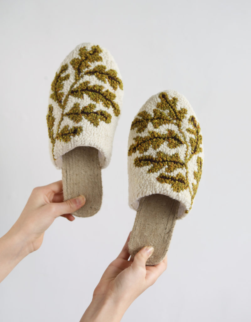 Punch Needle Espadrille Slippers from Arounna of Bookhou exclusively for A HAPPY STITCH
