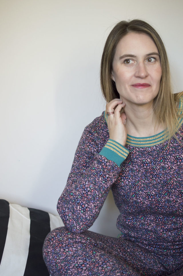 Liberty Sweatsuit with striped ribbing_Melissa Quaal of A HAPPY STITCH